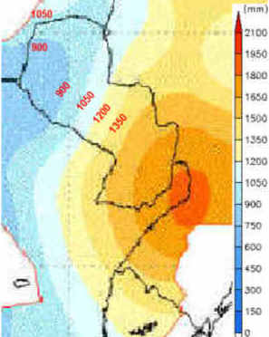 Paraguay anual precipitations